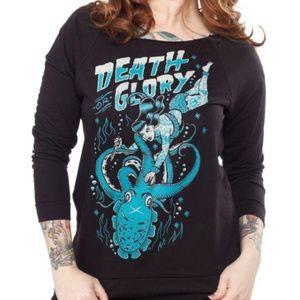 Tops - Death or Glory Rockabilly Pin Up Black Sweatshirt